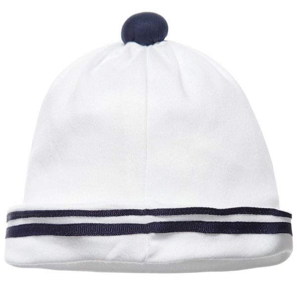 ALETTA Baby Boys White Cotton Jersey Hat 2