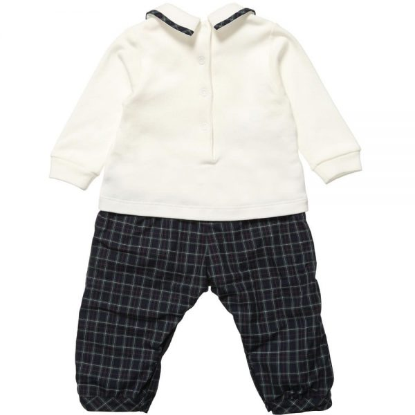 ALETTA Boys Ivory and Tartan Romper 2