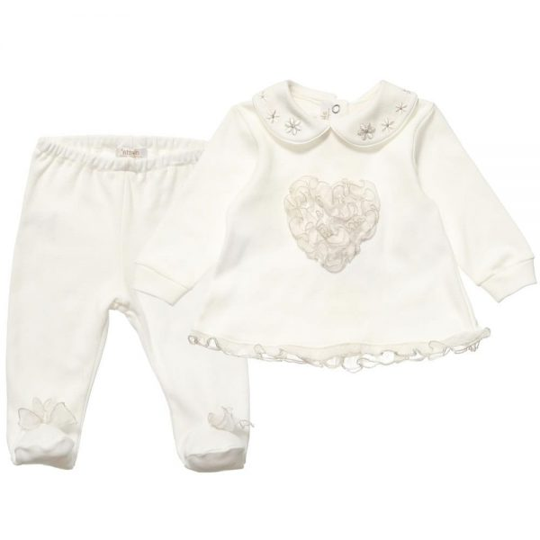 ALETTA Girls Ivory Cotton 2 Piece Babygrow 2