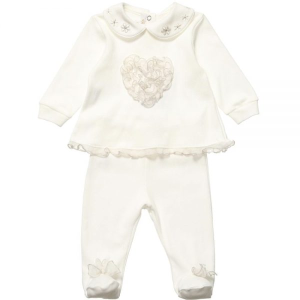 ALETTA Girls Ivory Cotton 2 Piece Babygrow