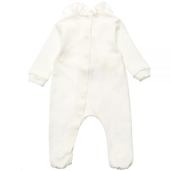 ALETTA Ivory Cotton Babygrow with Silk Frill 2