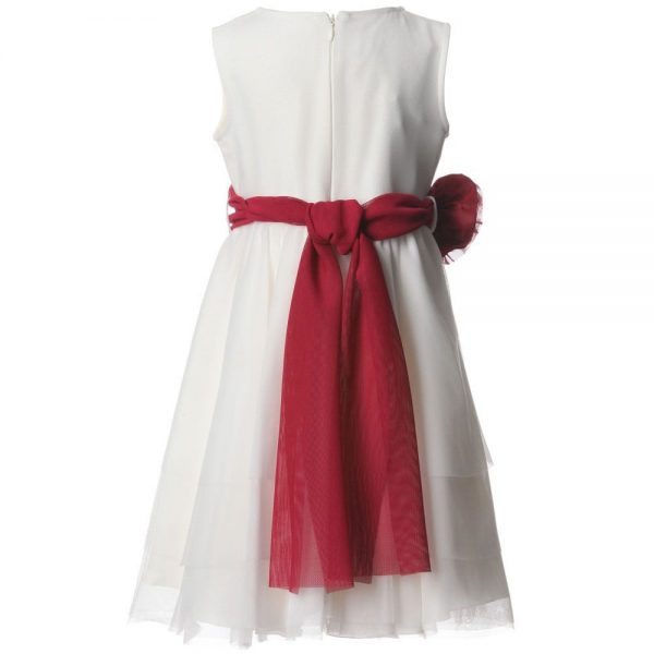 ALETTA Ivory Tulle Dress & Red Rose Sash 1
