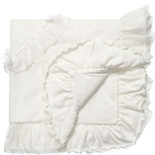 ALETTA Ivory Velour and Lace Baby Blanket (90cm) 1