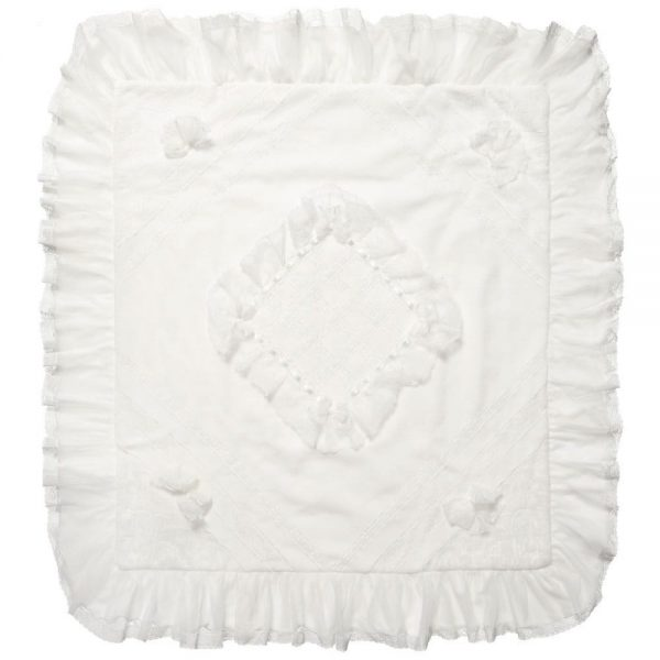 ALETTA Ivory Velour and Lace Baby Blanket (90cm) 2