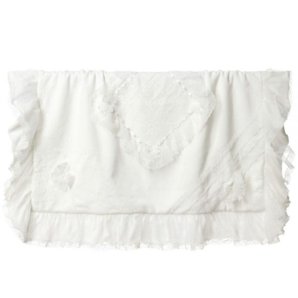 ALETTA Ivory Velour and Lace Baby Blanket (90cm)