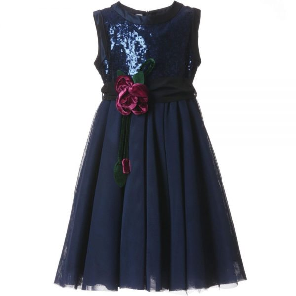 ALETTA Navy Blue Sequin & Tulle Dress