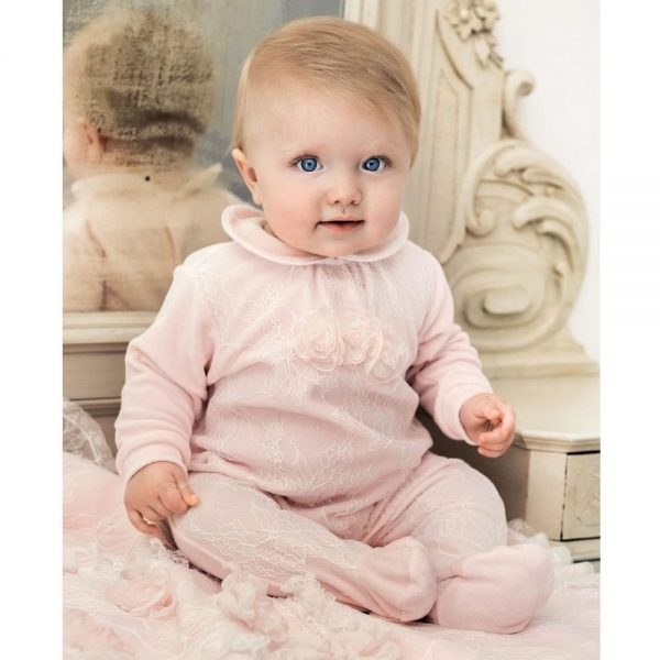 ALETTA Pink Cotton and Lace Babygrow 1