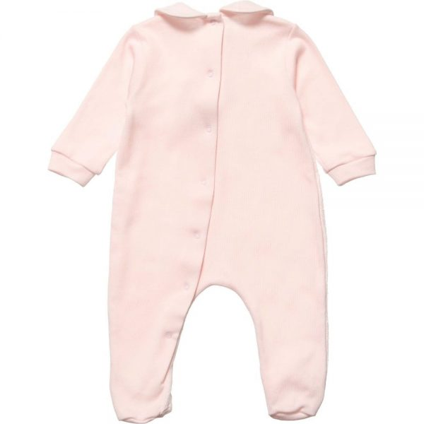 ALETTA Pink Cotton and Lace Babygrow 3