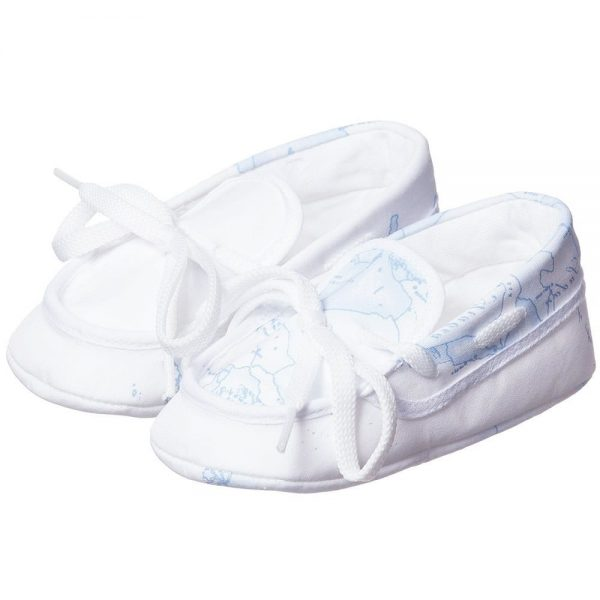 ALVIERO MARTINI Baby Blue Map Cotton Pre-Walker Shoes 1