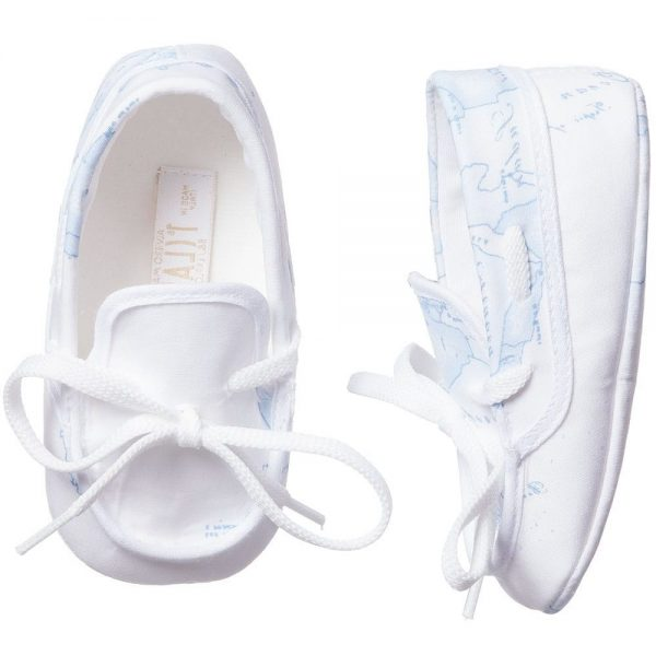 ALVIERO MARTINI Baby Blue Map Cotton Pre-Walker Shoes 2