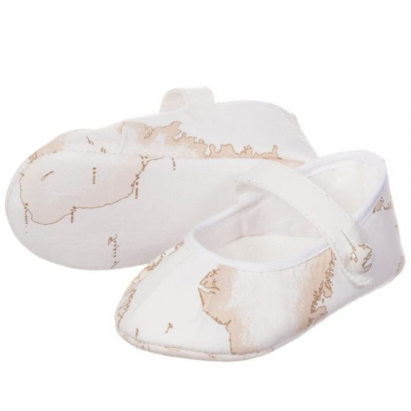 ALVIERO MARTINI Baby Girls Ivory Vintage Map Pre-Walker Shoes