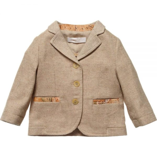 ALVIERO MARTINI Beige Herringbone Tweed Blazer Jacket
