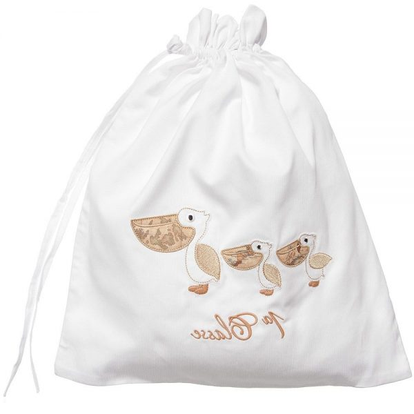 ALVIERO MARTINI Beige Pelican Cotton Drawstring Bag (34cm)