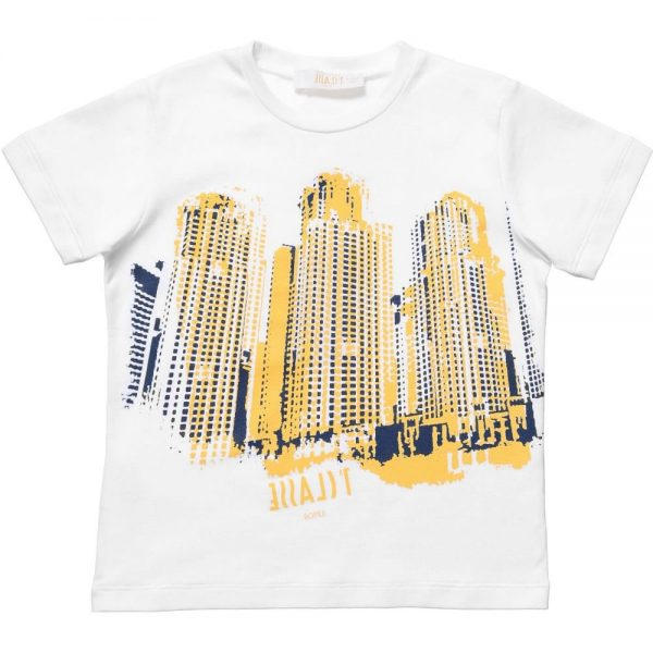 ALVIERO MARTINI Boys White T-Shirt with Cityscape Graphic