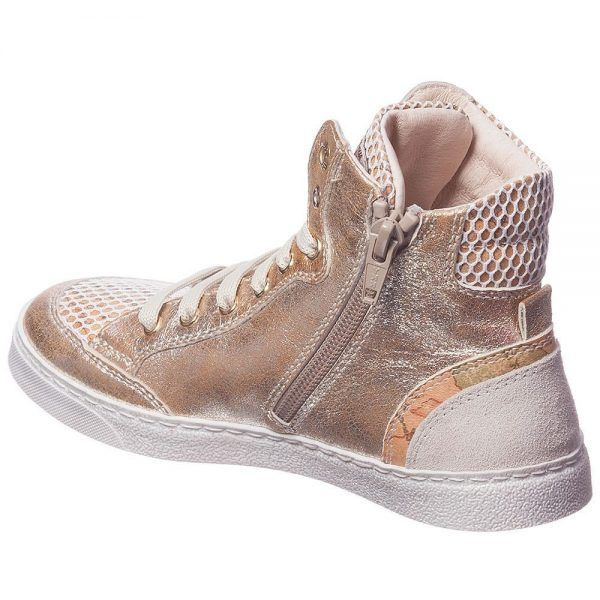 ALVIERO MARTINI Gold Leather Map Print High-Top Trainers 2