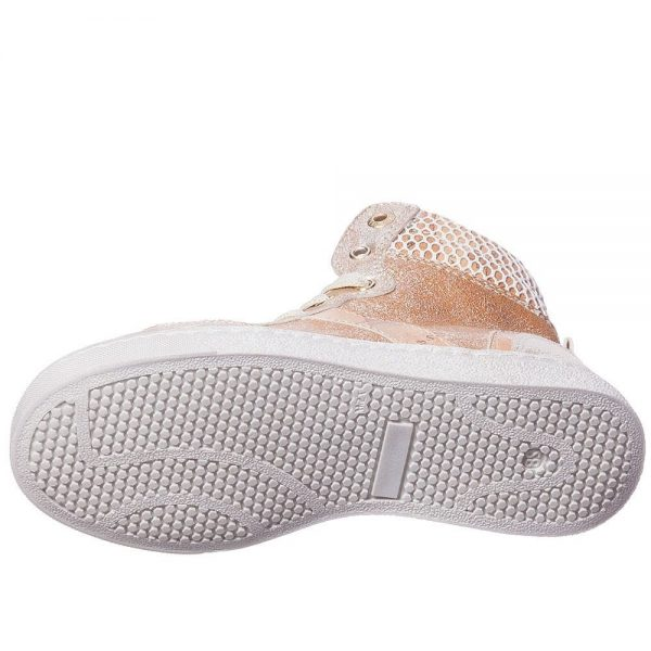 ALVIERO MARTINI Gold Leather Map Print High-Top Trainers 3