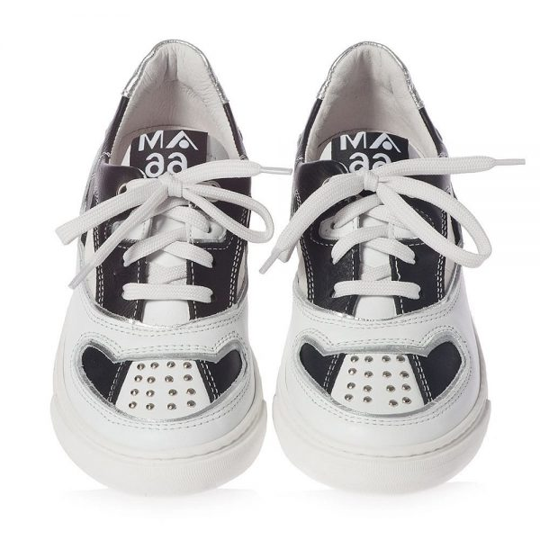 AM66 Black & White Leather Trainers 1