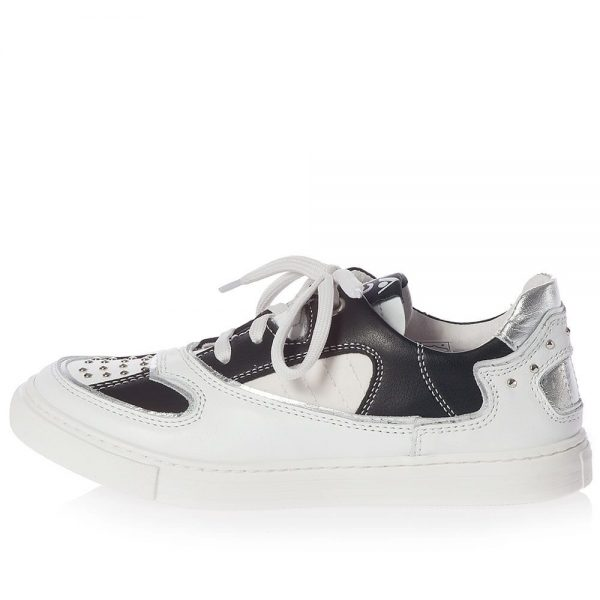 AM66 Black & White Leather Trainers 2