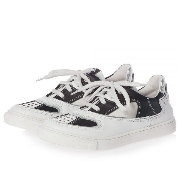 AM66 Black & White Leather Trainers