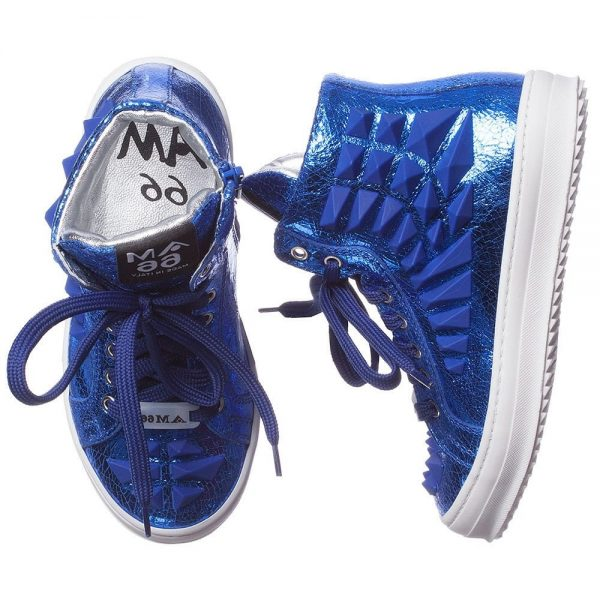 AM66 Blue Leather High-Top Trainers 1