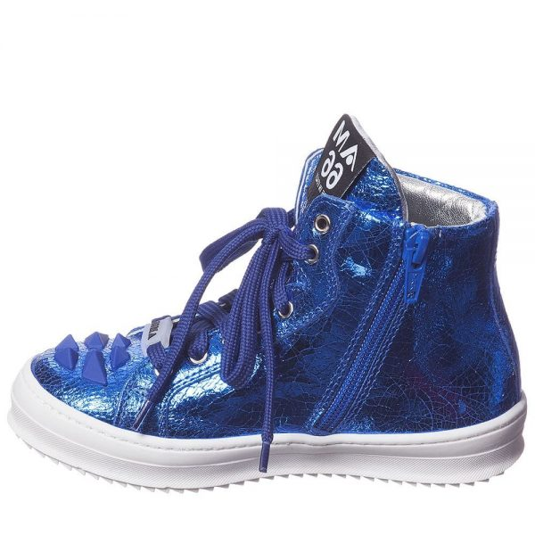 AM66 Blue Leather High-Top Trainers 3