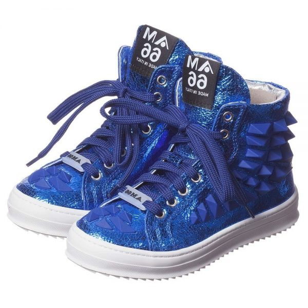 AM66 Blue Leather High-Top Trainers