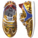 AM66 Girls Gold Leather and Rhinestone Trainers 1