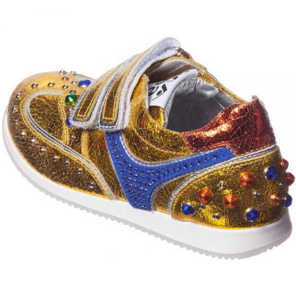 AM66 Girls Gold Leather and Rhinestone Trainers 3