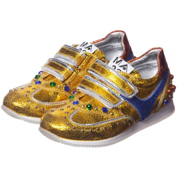 AM66 Girls Gold Leather and Rhinestone Trainers