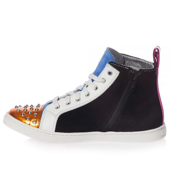 AM66 Girls Leather Studded High-Top Trainers 1