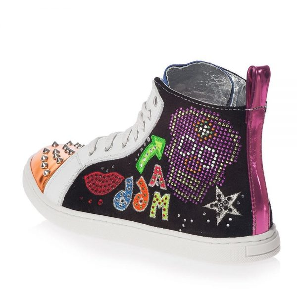 AM66 Girls Leather Studded High-Top Trainers 2