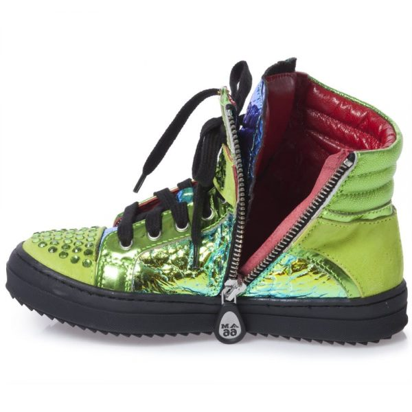 AM66 Girls Metallic Green Leather High-Top Trainers 3