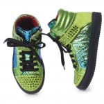 AM66 Girls Metallic Green Leather High-Top Trainers 4
