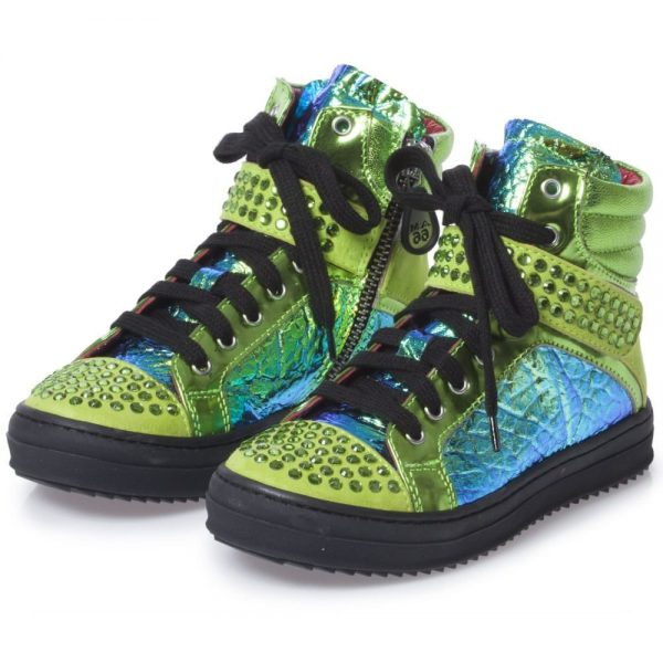 AM66 Girls Metallic Green Leather High-Top Trainers