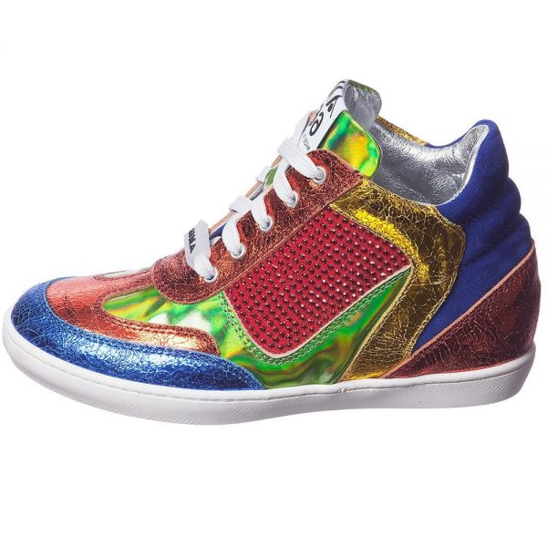 AM66 Girls Metallic Leather Mid-Top Trainers 2