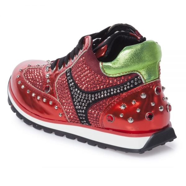 AM66 Girls Red Metallic Leather Trainers 3