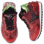AM66 Girls Red Metallic Leather Trainers 4