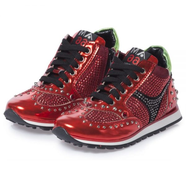 AM66 Girls Red Metallic Leather Trainers