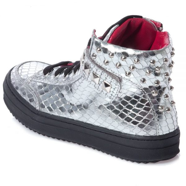 AM66 Girls Silver Studded Snakeskin Trainers 1