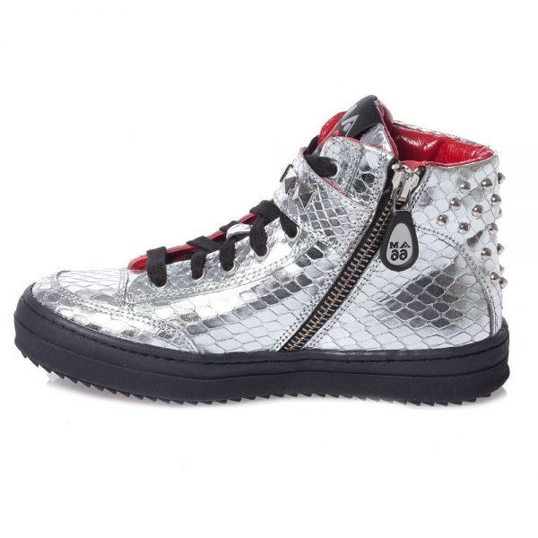 AM66 Girls Silver Studded Snakeskin Trainers 2
