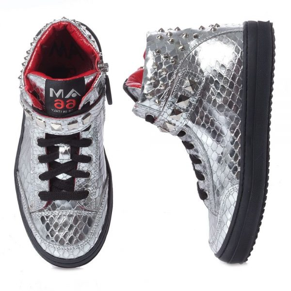 AM66 Girls Silver Studded Snakeskin Trainers 4