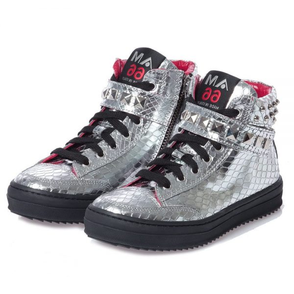 AM66 Girls Silver Studded Snakeskin Trainers