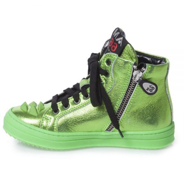 AM66 Green Metallic Leather High-Top Trainers 3
