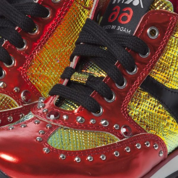 AM66 Red Metallic Leather Mid-Top Trainers 2