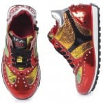 AM66 Red Metallic Leather Mid-Top Trainers 3