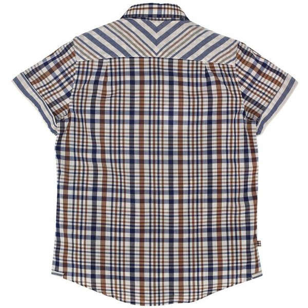 AQUASCUTUM JUNIOR Boys Beige Club Check Cotton Shirt 1