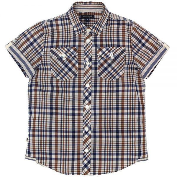 AQUASCUTUM JUNIOR Boys Beige Club Check Cotton Shirt