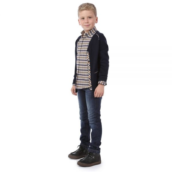 AQUASCUTUM JUNIOR Boys Navy Blue Wool Cardigan 1