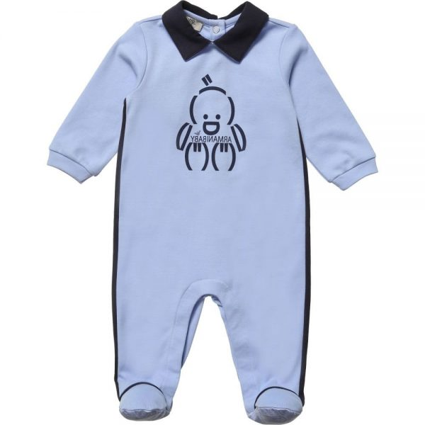 ARMANI BABY Baby Boys Blue Cotton Babygrow
