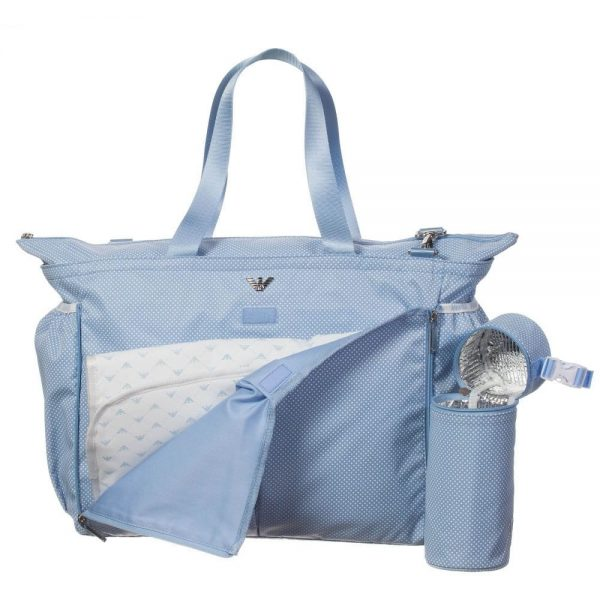 ARMANI BABY Pale Blue Spotty Baby Changing Bag (39cm) 2